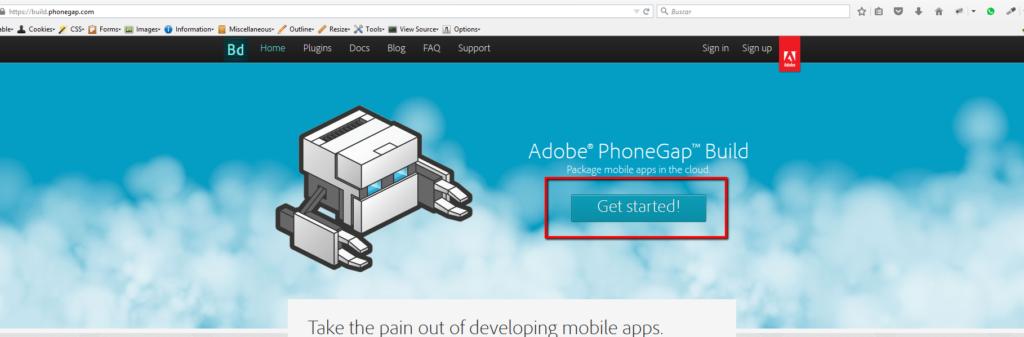 Regístrate en phonegap build
