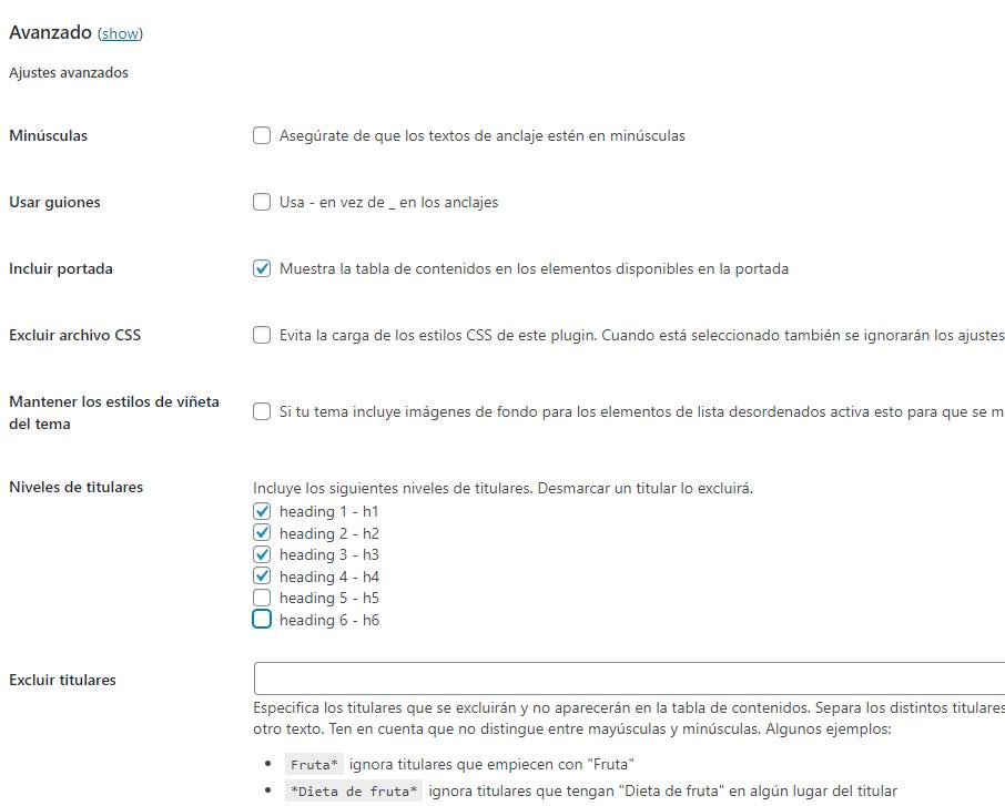 configurando opciones avanzadas tabla de contenidos en wordpress