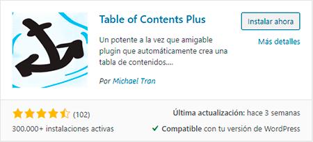 plugin de tabla de contenidos