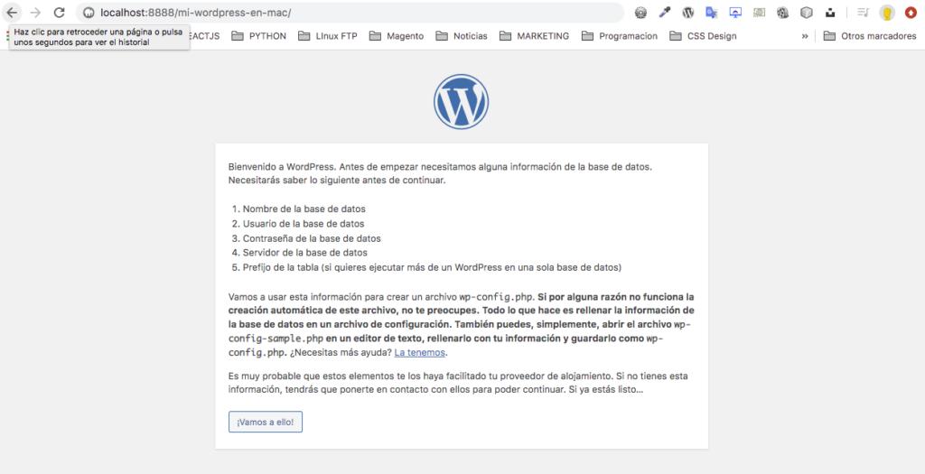 instalación wordpress en mac, primer paso