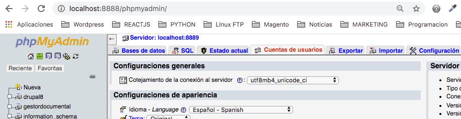 Crear base de datos a través de cuenta de usuario