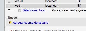 Opción phpmyadmin crear cuenta de usuario