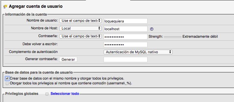 Usuario, contraseña y crear base de datos para wordpress