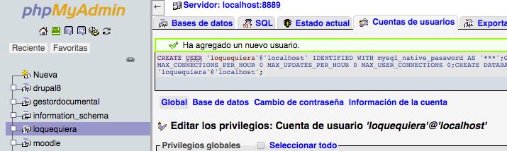 Creada base de datos wordpress