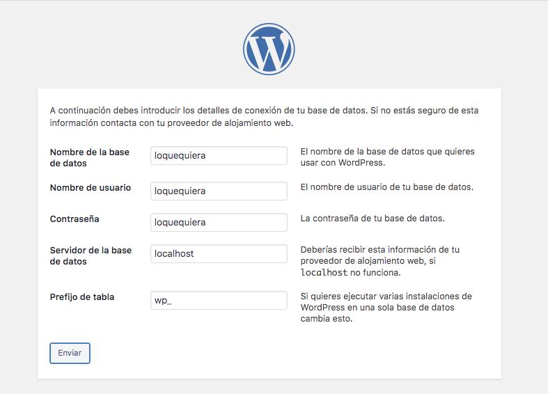 Configura WordPress y base de datos