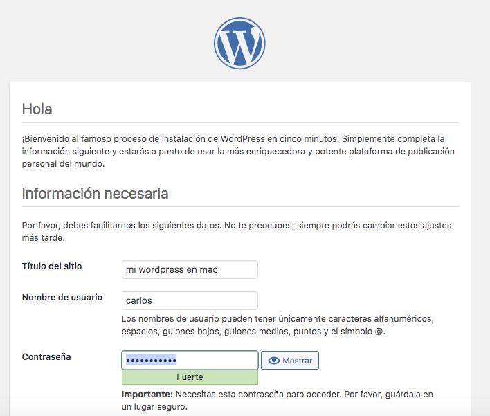 Datos básicos de tu nuevo wordpress