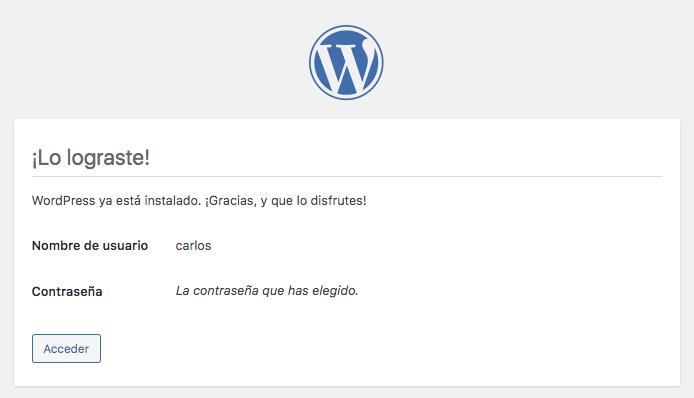 termina la instalación de wordpress en mac