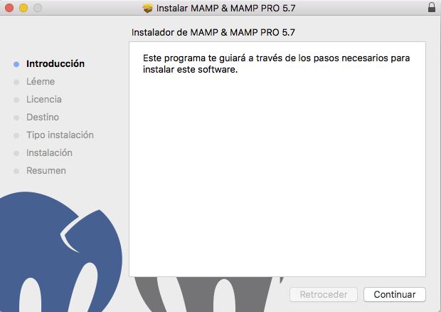 asistente para la instalación de mamp en mac