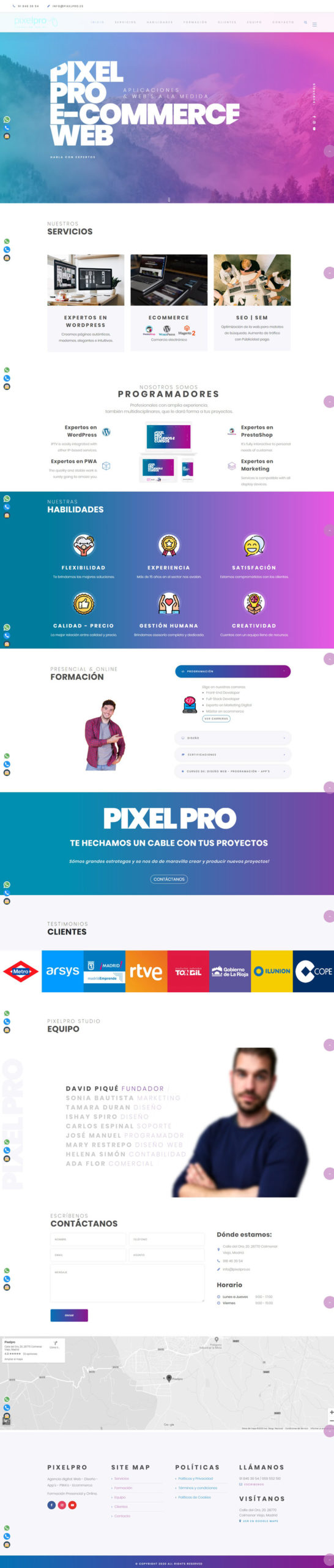 Diseño web moderno pixelpro Studio