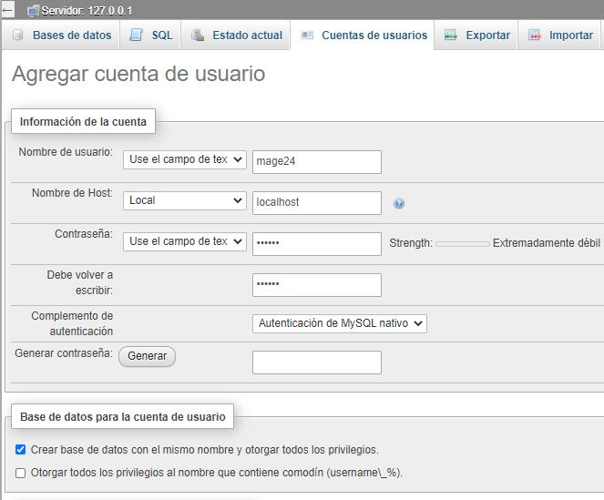crear base de datos magento 2.4