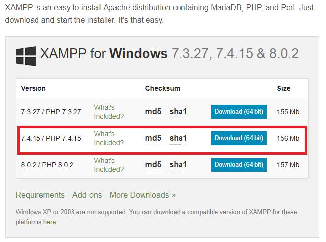 xampp php 7.4 magento