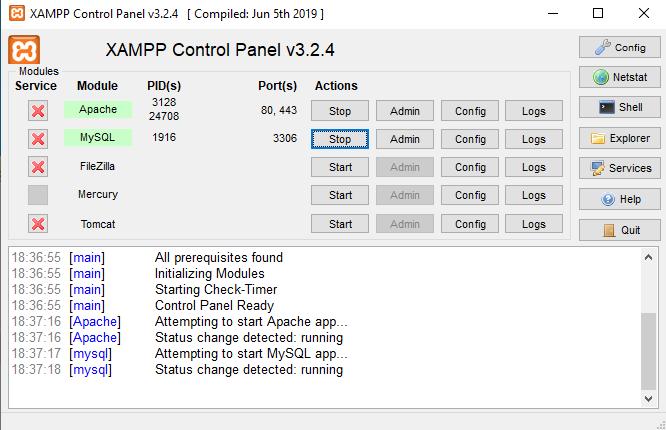 comprobación servidores xampp